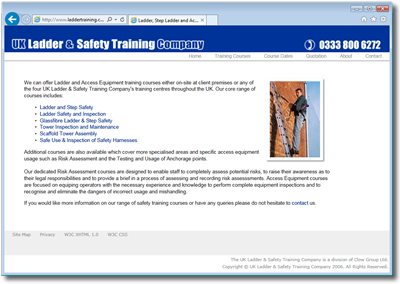 UK Ladder and Saffety Training Company Website
